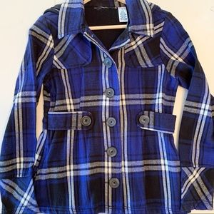 Chico's Hooded Flannel Plaid Jacket Blue Black S